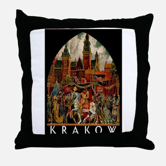 Vintage Krakow Poland Travel Throw Pillow