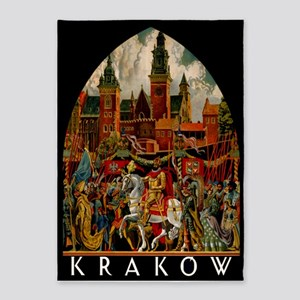 Vintage Krakow Poland Travel 5'x7'Area Rug
