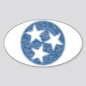 Faded Tennessee Flag Sticker (Oval)