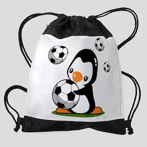 Soccer Penguin Drawstring Bag