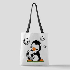 Soccer Penguin Polyester Tote Bag