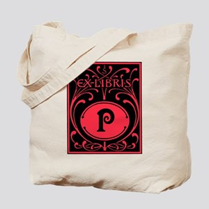 Book Bag with Vintage Bookplate Letter P Tote Bag
