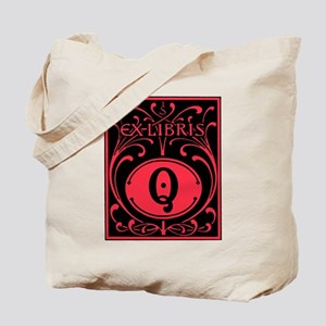 Book Bag with Vintage Bookplate Letter Q Tote Bag