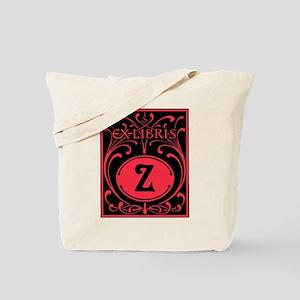 Book Bag with Vintage Bookplate Letter Z Tote Bag