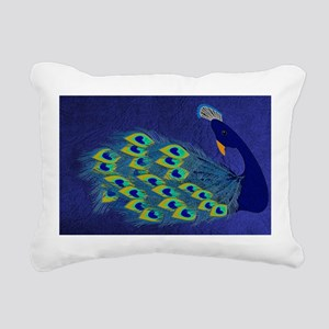 Preening Peacock Rectangular Canvas Pillow