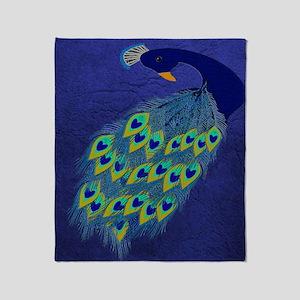 Preening Peacock Throw Blanket