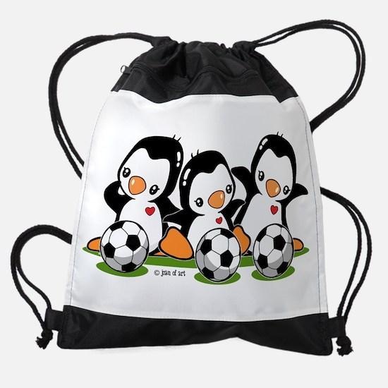 Soccer Penguins Drawstring Bag