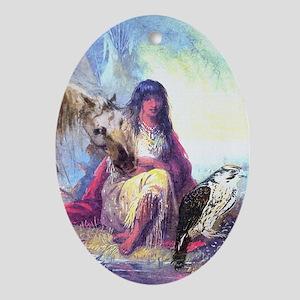 Hawk Woman Ornament (Oval)