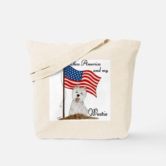 Patriotic Westie Tote Bag