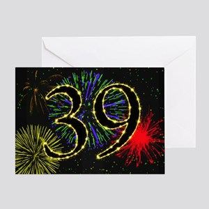 39th birthday with fireworks Greeting Card