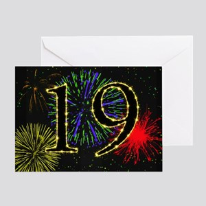 19th birthday with fireworks Greeting Card