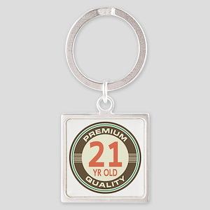 21st Birthday Vintage Square Keychain