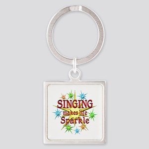 Singing Sparkles Square Keychain