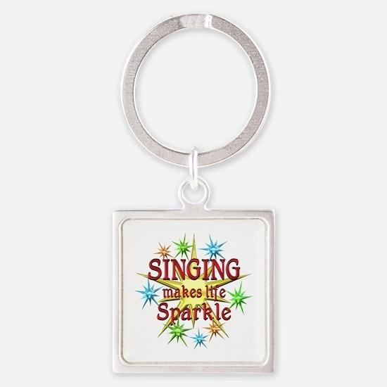 Singing Sparkles Square Keychain