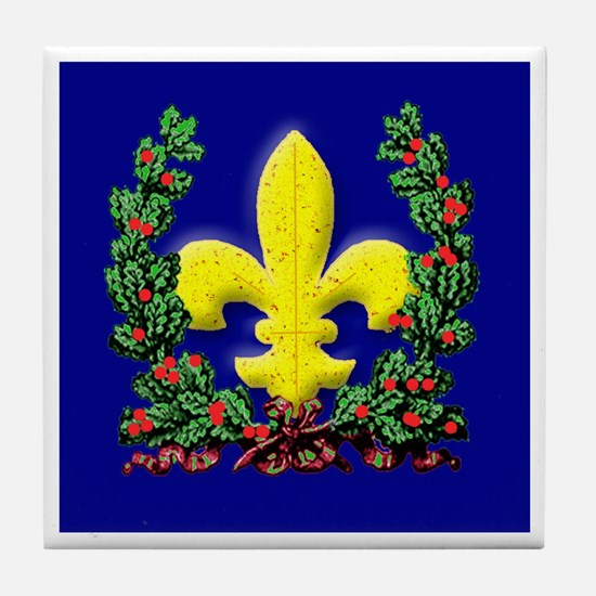 Wreath and Fleur de Lis Tile Coaster
