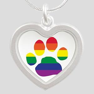 Gay Pride Rainbow Paw Print Necklaces