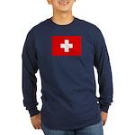 SWISS CROSS FLAG Long Sleeve Dark T-Shirt