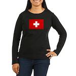 SWISS CROSS FLAG Women's Long Sleeve Dark T-Shirt