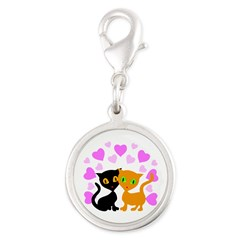 Kitty Cat Love Silver Round Charm