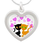 Kitty Cat Love Silver Heart Necklace