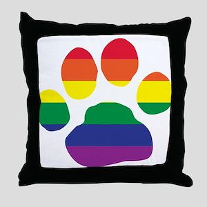 Gay Pride Rainbow Paw Print Throw Pillow
