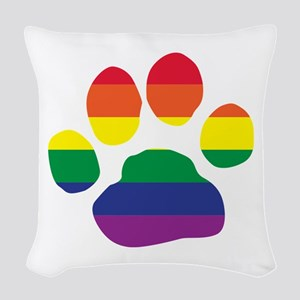 Gay Pride Rainbow Paw Print Woven Throw Pillow