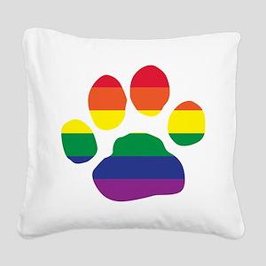 Gay Pride Rainbow Paw Print Square Canvas Pillow
