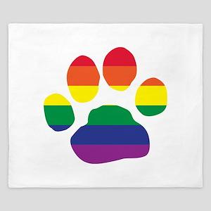 Gay Pride Rainbow Paw Print King Duvet