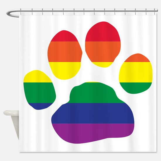 Gay Pride Rainbow Paw Print Shower Curtain