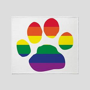 Gay Pride Rainbow Paw Print Throw Blanket