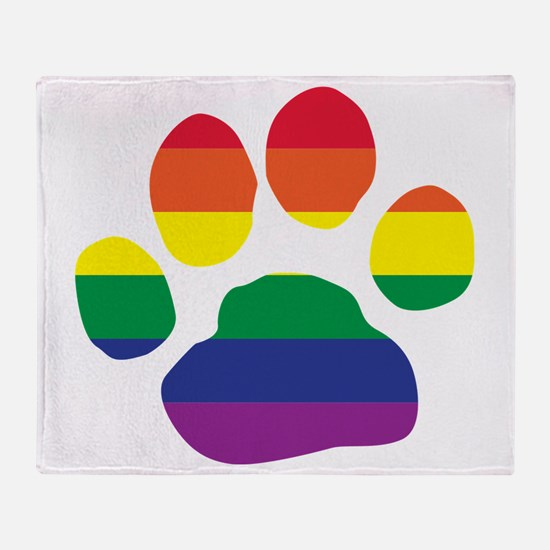 Gay Pride Rainbow Paw Print Throw Blanket