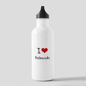 I Love Railroads Water Bottle