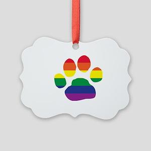 Gay Pride Rainbow Paw Print Ornament