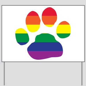 Gay Pride Rainbow Paw Print Yard Sign