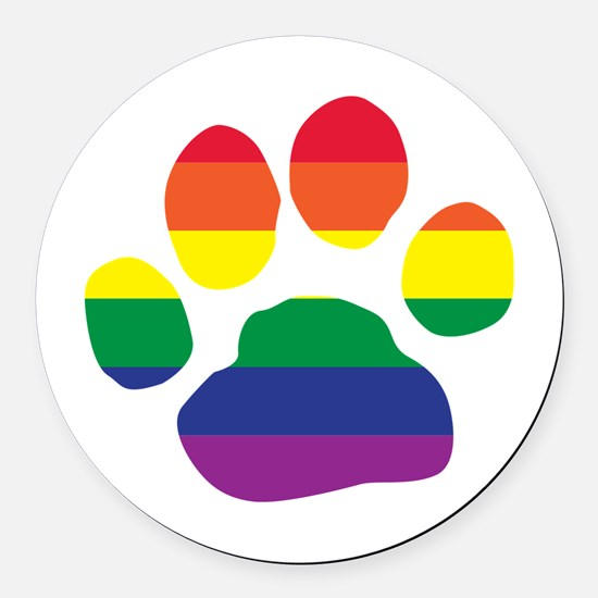 Gay Pride Rainbow Paw Print Round Car Magnet