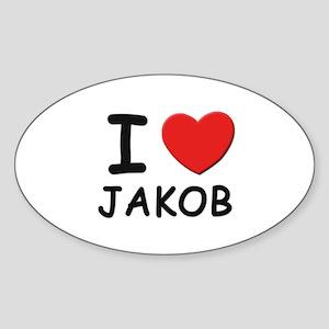 I love Jakob Oval Sticker
