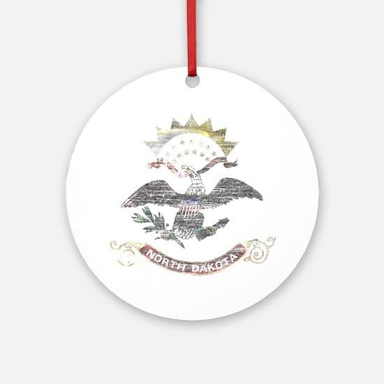 North Dakota Vintage State Flag Ornament (Round)