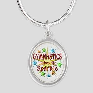 Gymnastics Sparkles Silver Oval Necklace