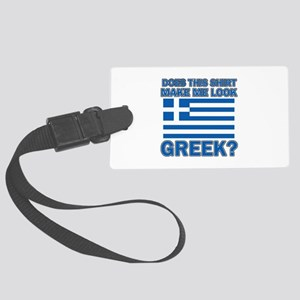 Greek flag designs Large Luggage Tag