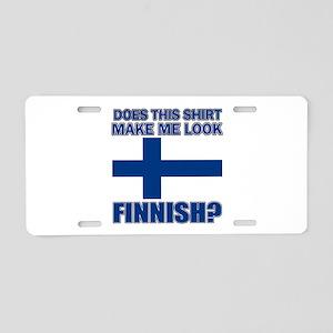 Finnish flag designs Aluminum License Plate