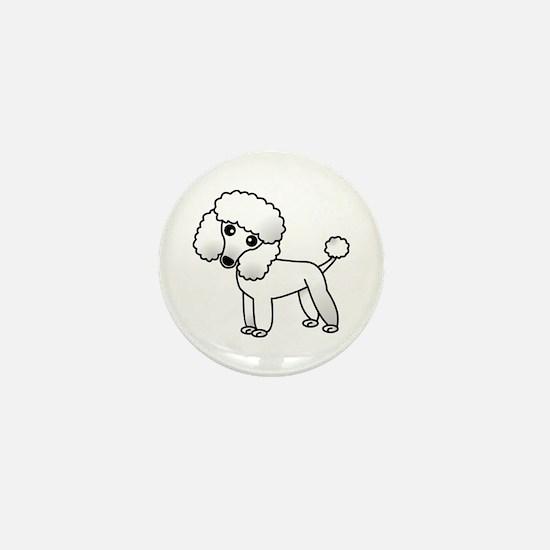 Cute White Poodle Mini Button