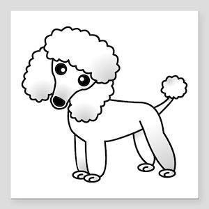 "Cute White Poodle Square Car Magnet 3"" x 3"""