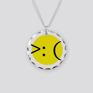 Angry Emotion Necklace Circle Charm