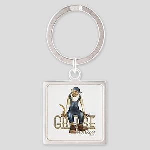 Funny Grease Monkey Mechanic Square Keychain