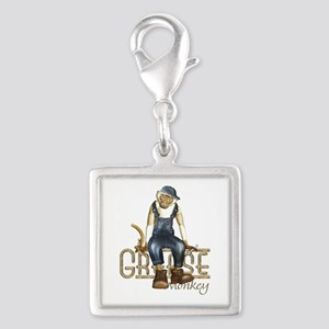 Funny Grease Monkey Mechanic Silver Square Charm