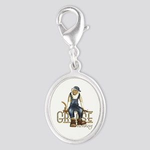 Funny Grease Monkey Mechanic Silver Oval Charm