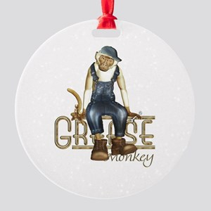 Funny Grease Monkey Mechanic Round Ornament