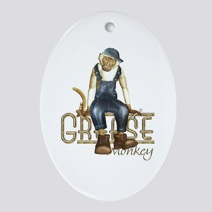 Funny Grease Monkey Mechanic Ornament (Oval)