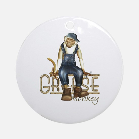 Funny Grease Monkey Mechanic Ornament (Round)