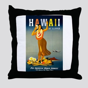 Vintage Hawaiian Travel Throw Pillow